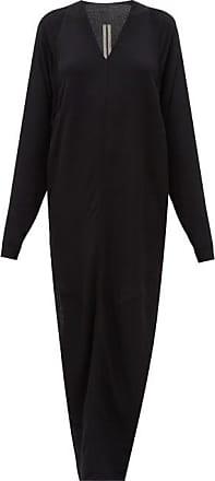 Rick Owens Side-slit V-neck Maxi Dress - Womens - Black