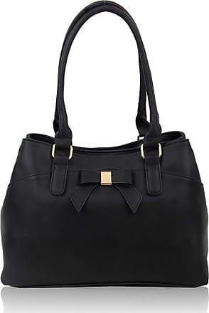 LeahWard Womens Bow Shoulder Bags Large School Handbags R08 (Black)