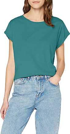 Urban Classics Womens Ladies Extended Shoulder Tee Basic Capsleeves, Shortsleeve T-Shirt Top with Crew Neck, Teal, XXL