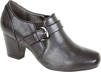 Boulevard Anna Heeled Buckle/Gusset Mid Heel Fashion Shoes - Black PU, Ladies UK 5 / EU 38