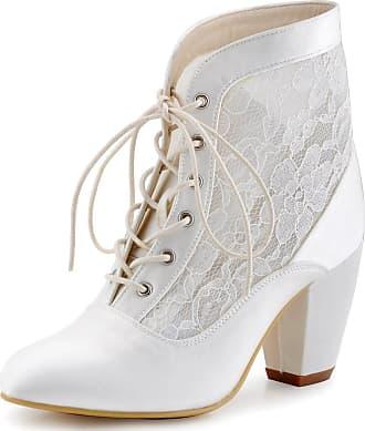 Elegantpark HC1559 Women Closed Toe Lace-up Ankle Boots High Heels Prom Lace Wedding Party Court Shoes Ivory UK 8