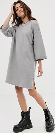 Noisy May Vestito felpato grigio con maniche a 2/3