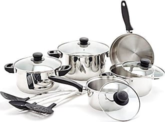 Old Dutch International Old Dutch 1515 12 Pc Stainless Steel Set & Kitchen Tools Cookware Sets, Black