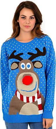 Womens Chrisrmas Jumper Xmas Reindeer Snowflakes Knitted Top Plus Size UK 8-30