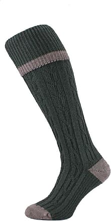 Hj Hall Cable Stripe Wool Blend Thermal Shooting-Hike-Walking Socks HJ622 - Olive - 11-13