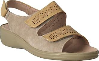 Cushion-Walk Womens Ladies Twin Touch Fasten Sling Back Floral Summer Beach Fashion Sandals Sizes UK 3-8 (Beige, Numeric_5)