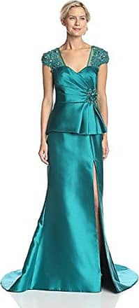 Terani Couture Womens Peplum Gown, Teal, 8 US
