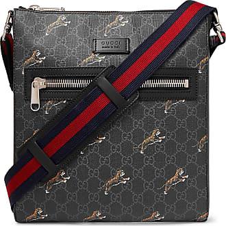 ae3f43284 Gucci Leather-trimmed Monogrammed Coated-canvas Messenger Bag - Black
