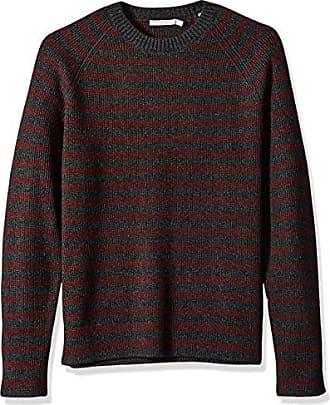 Vince Mens Raglan Sleeve Striped Ribbed Crew Neck Sweater, Carbon/Heather Burgundy, XL