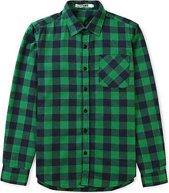 OCHENTA Mens Long Sleeve Plaid Flannel Shirt P013 Size 2XL