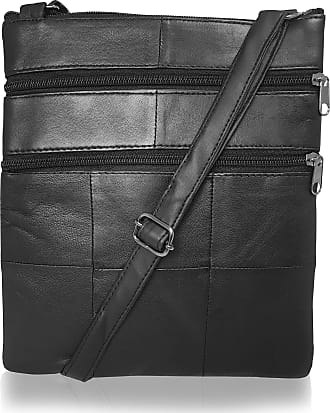 Quenchy London Roamlite Leather Cross Body Bag for Women with Shoulder Holster Strap, Large Main Compartment and 4 Zipper Pockets 24cm x W19.5cm x D1cm RL117L Black
