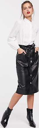 Stradivarius faux leather pencil skirt with belt in black