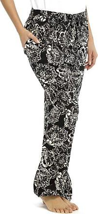 Tom Franks Womens Lightweight Monochrome Print Summer Trouser Bottoms Lounge Wear Pants - Black - Pack of 50