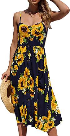 Yidarton Womens Floral Sleeveless Midi Summer Dress Split Button Beach Dress with Pockets(BK-XL) Black