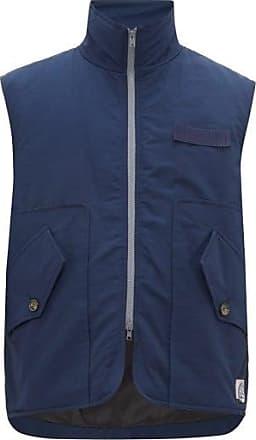 Boramy Viguier Grosgrain-trim Cotton-twill Gilet - Mens - Navy