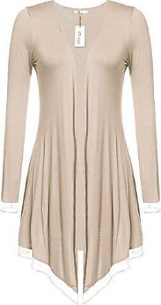 Meaneor Damen Strickjacke Casual Cardigan Jacke Asymmetrisch Offener V-Ausschnitt Longshirt Mit Chiffonabschl/üssen Oberteil /Übergr/ö/ße