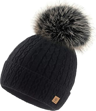 4sold Ladies Chunky Soft Cable Knit Handmade Woman Hat Cosy Fleece Liner and Bobble Faux Fur Pom pom (MIA Black)
