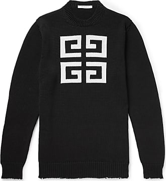 Givenchy Distressed Logo-intarsia Cotton Sweater - Black