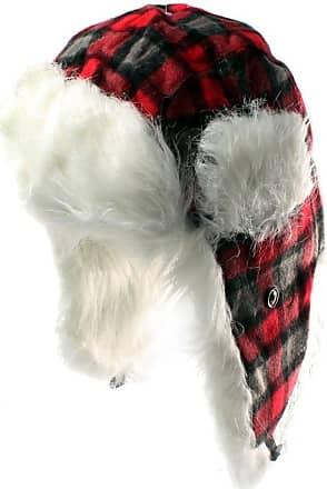 Unisex 59cm Red Tartan Faux Fur Trapper Hat