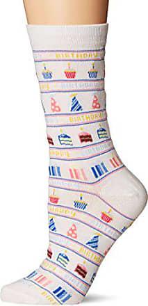 Hot Sox Womens Originals Classics Novelty Crew Socks, Happy Birthday (White), Shoe Size: 4-10