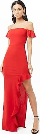 Forever 21 Forever 21 Off-The-Shoulder Ruffle Trim Gown Red