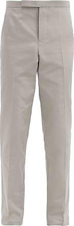 Haider Ackermann Slim-leg Cotton-blend Rep Suit Trousers - Mens - Grey