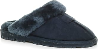 Ajvani Womens Ladies Flat Low Heel Winter Fur Lined Mules Slippers Size 5 38