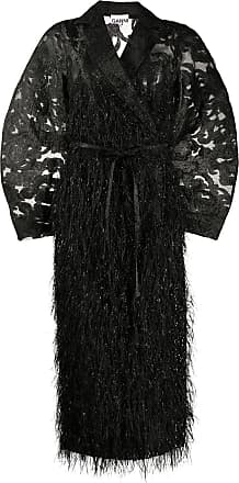 Ganni belted feather-effect coat - Black