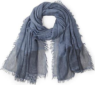 Anna Aura Geweven sjaal met subtiel glittereffect en franje Van Anna Aura blauw