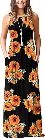 QIYUN.Z Womens V Neck Sleeveless Summer Asymmetrical Patchwork Floral Maxi Dresses Black XL