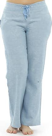 Tom Franks Womens Two Tone Colour Elasticated Waist Linen Trouser Lounge Wear Pants Blue 14
