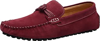 ICEGREY Mens Driving Moccasins Slip-On Loafer Slipper with Knot Wine Red 42