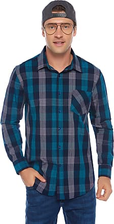 iClosam Mens Regular-fit Short Sleeve Cotton Plaid Shirt Loose fit Button Down Pocket Casual Shirt Top (Long Sleeve 2, XXL)