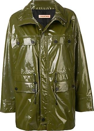Yves Salomon long cargo leather jacket - Green