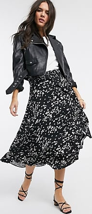 Warehouse daisy print belted midi skirt-Multi