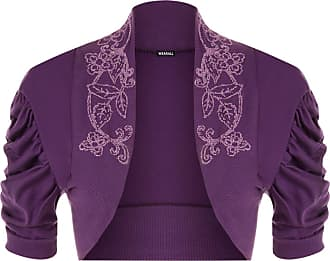 WearAll Ladies Ruched Shrug Womens Beaded Design Short Sleeve Bolero Cardigan Top Purple 12/14