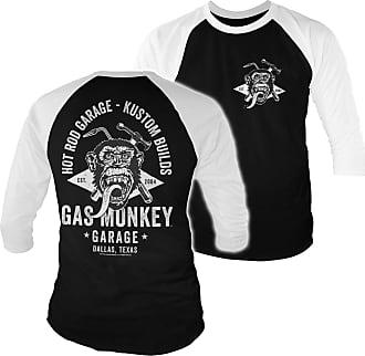 Gas Monkey Garage Officially Licensed GMG Torch & Hammer Baseball 3/4 Sleeve T-Shirt (White-Black), XXL