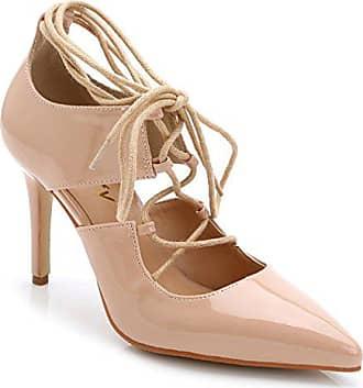 Xianshu Lackleder Rom Lace up Schuhe Spitz Zehe High Heel Schuhe (Aprikose-43) 6e76dfc5e6