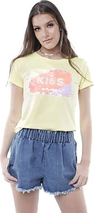Pop Me Blusa T-shirt Kiss Pop Me-amarelo-p