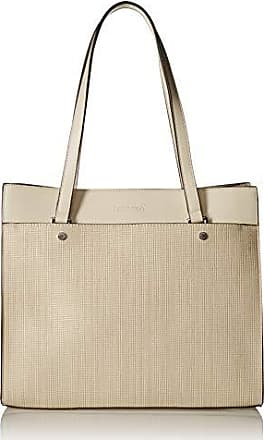 69ef621655d Calvin Klein Leo Smooth PU Novelty East/West Boxy Large Tote, off off white