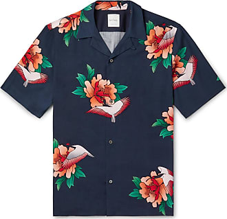 Paul Smith Camp-collar Floral-print Tencel And Linen-blend Shirt - Navy