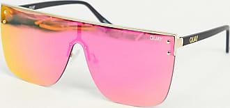 Quay Blocked flatbrow sunglasses in gold with pink lens