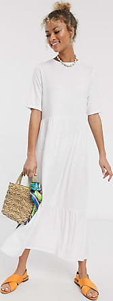 Asos tiered smock t-shirt midi dress in white