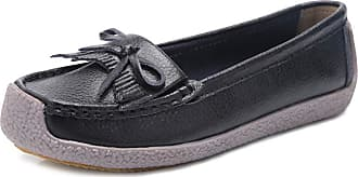 Daytwork Shoes Women Loafer Flats - Round Toe Slip on Oxford Soft Sole Comfort Casual Lightweight Moccasins Driving Walking Boat Shoes Black