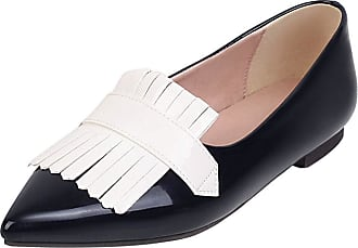 Mediffen Womens Pointed Toe Slip On Casual Tassels Flats Fashion Comfort Flat Shoes Black Size 48 Asian