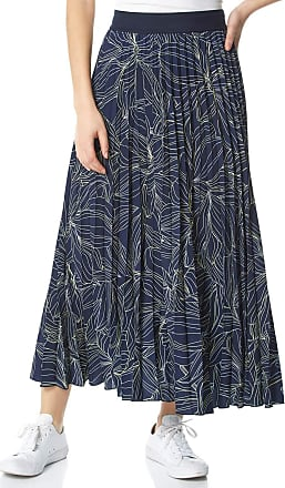 Roman Originals Women Linear Floral Print Pleated Skirt - Ladies Leopard Everyday Casual Holiday Summer Floaty Elasticated Midi Maxi Length Contrast Waistband High Ri