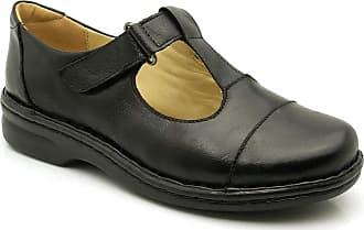 Doctor Shoes Antistaffa Sapato Feminino 366 em Couro Preto Donna comfort-Preto-39