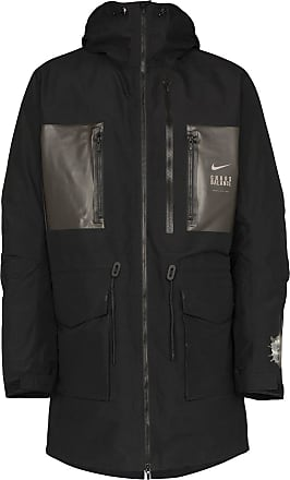 nike air quilted fleece parka jacket in orange/khaki