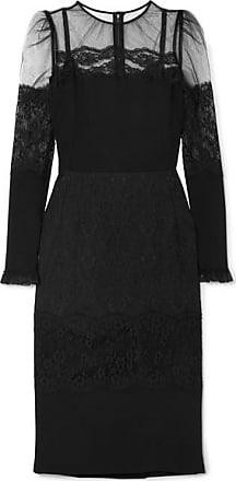 2f2a8d93577e Dolce   Gabbana Kleid Aus Cady Mit Besatz Aus Spitze Und Tüll - Schwarz