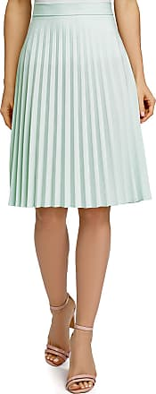 oodji Collection Womens Accordion Pleat Skirt, Green, UK 16 / EU 46 / XXL